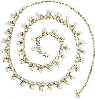 Karatcart Gold-Plated Kundan and Pearl Studded Handcrafted Kamarband