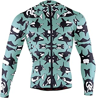 Ainans Pink Tropical Forest Flamingo Men's Cycling Jersey Long Sleeve Bike Jacket Biking Bicycle Jersey Shirt