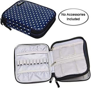 Damero Crochet Hook Case, Travel Storage Bag for Various Crochet Needles and Accessories, Lightweight and Compact, Easy to Carry, Medium, Blue Dots (No Accessories Included)