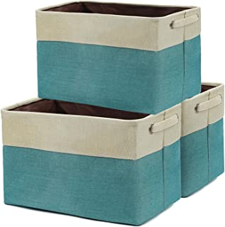 Xingte Collapsible Open Home Storage Bins Cotton Linen Fabric Storage Boxes Decorative Home Organizer, Set of 3, Beige and...