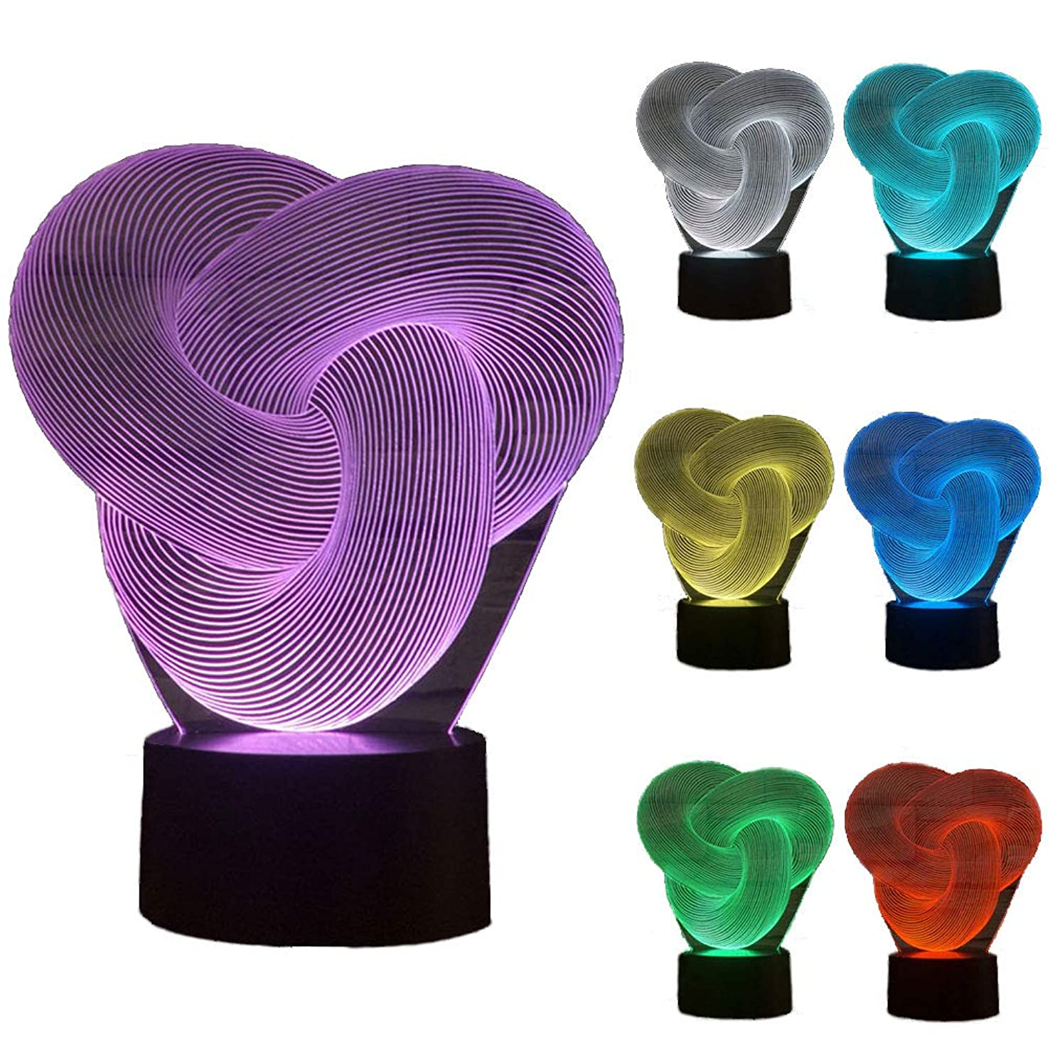 ZLTFashion 3D Visual Optical Illusion Colorful LED Table Lamp Touch Cool Design Night Light Christmas Prank Gifts Romantic Holiday Creative Gadget (Rope)