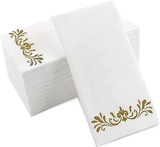 Gold Dinner Napkins, Disposable Party Napkins, Paper Napkins Decorative, Linen Feel Disposable Hand Towels for Wedding, Gu...