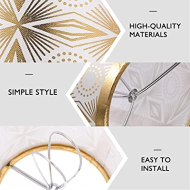 SOLUSTRE Lamp Shade Classic Modern Cloth Drum Lampshade for Table Lamp Bedside Lamp Floor Lamp Living Room Golden