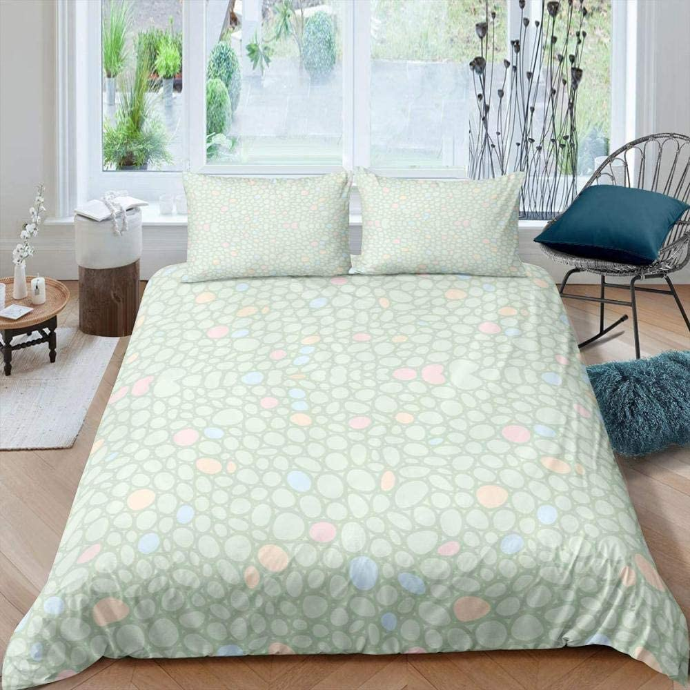 JCYUEDRN 3D Duvet Cover Twin shopping Surprise price Inches Geometric Pebbl Simple 66X90