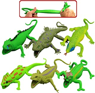 Lizards Toys,9-Inch Rubber Lizard Set(6 Packs),Food Grade Material Tpr Super Stretchy,With Learning Study Card Gift Box-Re...