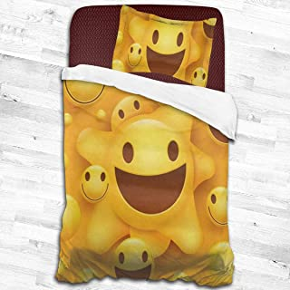 "Kids Duvet Cover Set Yellow Smiley Face Quilt Covers Decorative 2 Piece Bedding Set with 1 Pillow Cases Microfiber Comforter Cover for Toddler Teen Boys Girls Children 53""x79"""