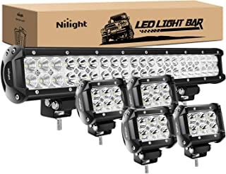 Nilight 50.8 cm 126 W Spot Flood Combo LED barra de luz 4 piezas 4 inch, 18 W Spot LED VAINAS luces antiniebla para Jeep W...