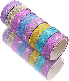 PINDIA Sparkling Printed Craft Tape Shimmer Glitter Roll, 1.5cm (Multicolour) - Set of 10 Pieces