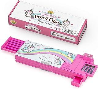 حقيبة أقلام يونيكورن للأطفال، علبة تنظيم الأدوات المكتبية متعددة الوظائف مع آلة حاسبة، مبراة، أقلام رصاص، لوازم مدرسية رائ...