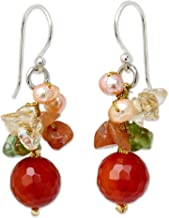 NOVICA Cultured Freshwater Pearl, Peridot, Chalcedony and Quartz Cluster Earrings, Radiant Love'