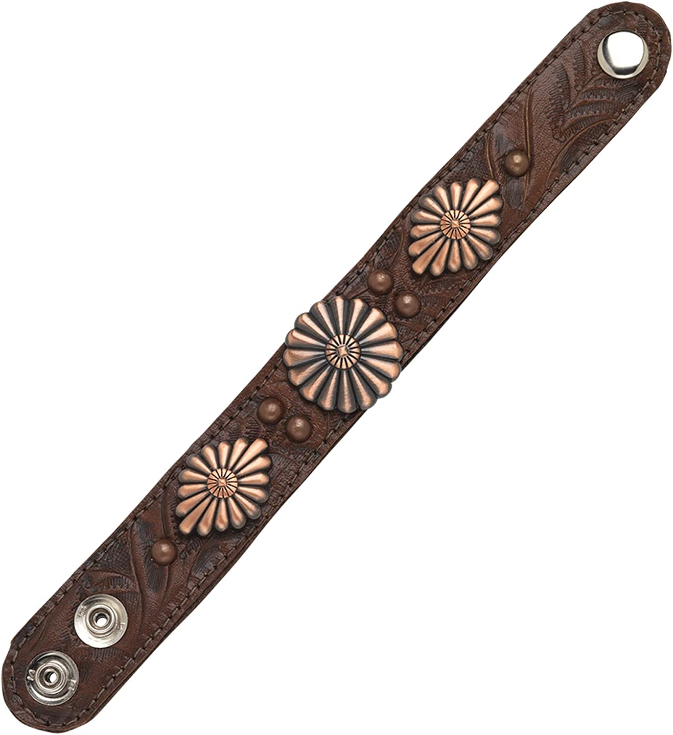 American West Narrow Genuine Leather Cuff Bracelet | Antique Copper Accents - Chestnut Brown