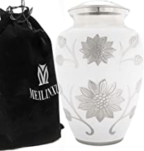 (White) - Funeral Urn by Meilinxu - Cremation Urns for Human Ashes Adult and Memorial - Hand Made in Brass and Hand Engraved - Display Burial Urns At Home or in Niche at Columbarium (Rosedale White, Large Urn)