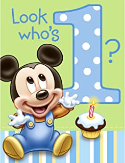 Hallmark Mickey's 1st Birthday Invitations, Postcards, Invitations with Envelopes for All Occasions, Greenery Invites Perfect for: Birthday Party or Special Event (8-ct. Pack)