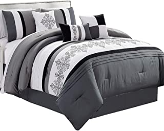 Deluxe Tradition Kevina 7 Pieces Luxury California King Comforter Set Featuring Floral Embroidered Design in Black, Gray, and White Bed in A Bag Includes Comforter, Skirt, Throw Pillows, Pillow Shams