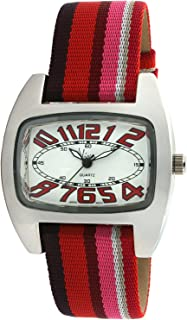Viva Silver-Tone Red Number Dial Multi-Color Grosgrain Strap Watch #V2390RD