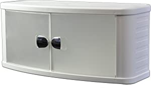 Primanova Badezimmerschrank weiß mit 2 Türen, semi-transparent, Klippverschluss - kompakt & aufgeräumt, Breite 64 cm, Höhe 28 cm, Tiefe 23,5 cm