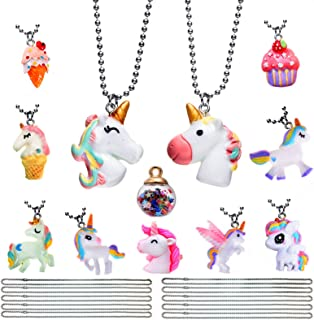 Kids Unicorn Mermaid Collection Pendant Necklace Jewelry Set for Girls Theme Party Supplies