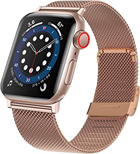 SUNNDA Bands Compatible with Apple Watch Band 42mm 44mm, Adjustable Stainless Steel Mesh Loop Replacement Men Women Strap for iWatch Series SE/6/5/4/3/2/1,Rose Gold