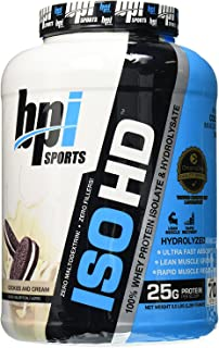 BPI Sports ISO HD Whey Protein Isolate and Hydrolysate, Cookies and Cream, 5 Pound