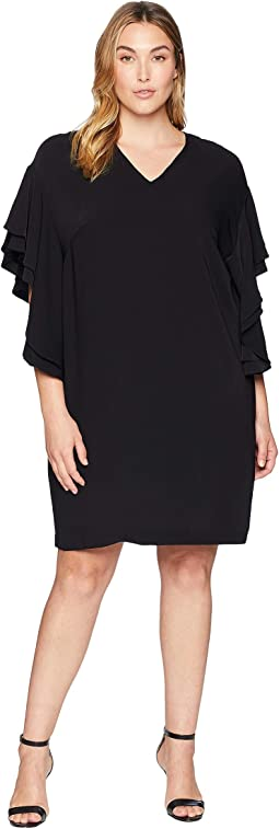 Plus Size Flutter-Sleeve Shift Dress