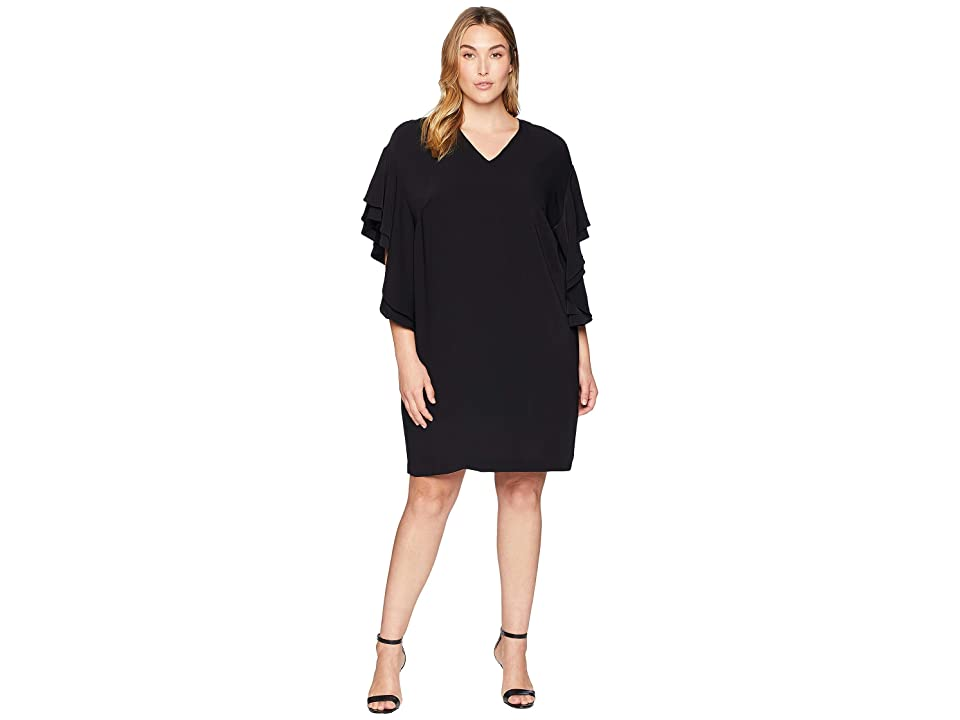 LAUREN Ralph Lauren Plus Size Flutter-Sleeve Shift Dress (Polo Black) Women