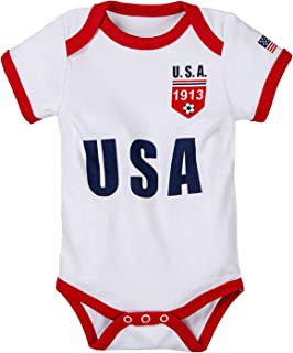 Unisex Newborn Baby Boys Girls Short-Sleeve US Unique Soccer Onesie Bodysuit | US Soccer Baby outfits 2020
