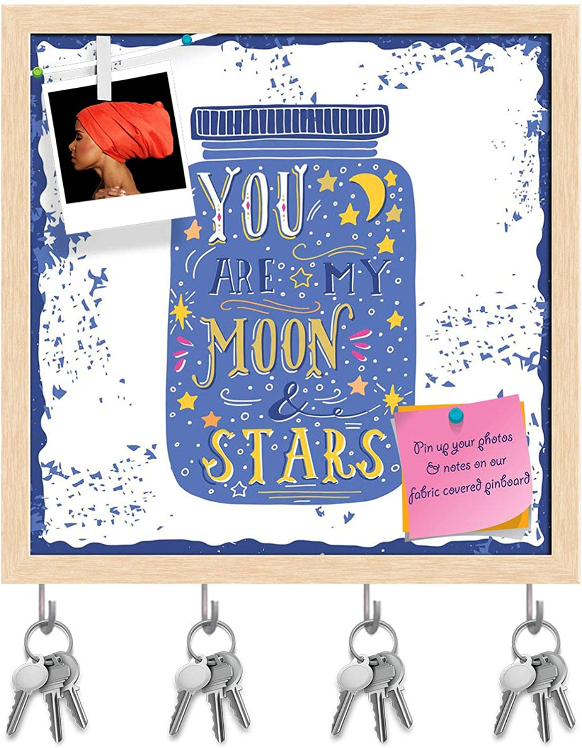 Artzfolio You are My Moon & Stars D3 Key Holder Hooks   Notice Pin Board   Natural Brown Frame 20 X 20Inch