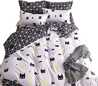 Mengersi Black Bed Pillowcase Duvet Cover Quilt Cover Set (Queen)