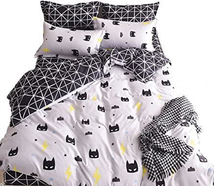 Nattey Black Bed Pillowcase Duvet Cover Quilt Cover Set (Twin)
