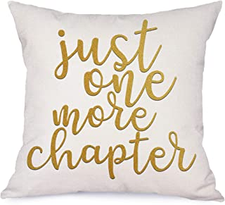 Bonsai Tree Just One More Chapter Pillow Covers, Motivational Sign Quotes Decorative Couch Throw Pillow Covers, Book Lover...
