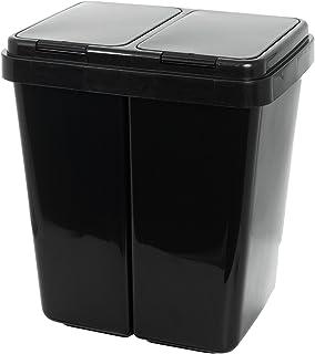 Grizzly Poubelle De Recyclage Double Tri Sélectif 2x25 litres Compartiments Anthracite