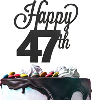 Happy 47th Birthday Black Glitter Cardstock Paper Cake Topper Cheers to 47 Years Old Bday Party Gift Photo Booth Sign Decoration - Premium Double Sided