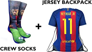 Forever Fanatics Barcelona Neymar Jr #11 Soccer Fan Gift Set Bundle ✓ Neymar Jr #11 Crew Socks Sizes 6-13 ✓ Matching Neymar Jr #11 Jersey Drawstring Backpack
