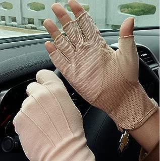 cherish SY Women UV Sun Protection Fingerless Gloves Men Half Finger Cycling Gloves Lightweight Summer Driving Fitness Gloves Non-slip Touchscreen Cotton Gloves