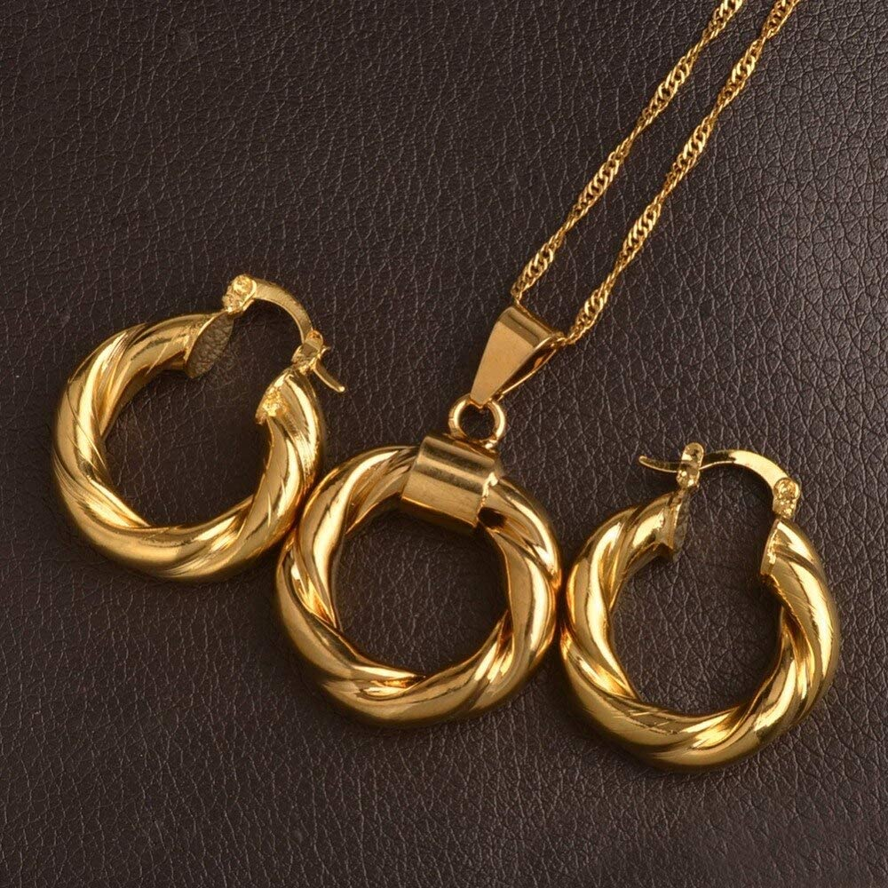 thumrat.titcha10 - SMALL Twisted Circles Pendant Necklaces Earring African Gold Color Ethiopia Round Jewelry set for Women