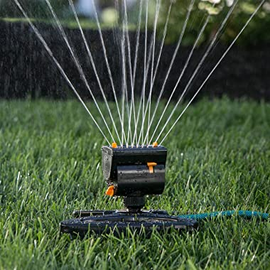 Melnor 65003-AMZ MiniMax Turbo Oscillating Sprinkler with QuickConnect Product Adapter Watering Set, On Base, Black, Yellow
