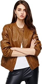 Best womens cognac leather bomber jacket Reviews