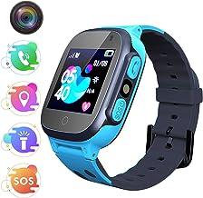 Jaybest Smartwatch Niños - Inteligente Relojes Phone con cámara SOS Ranura para Tarjeta de Juego Juego de Reloj Inteligente Compatible con iOS y Android(Azul)