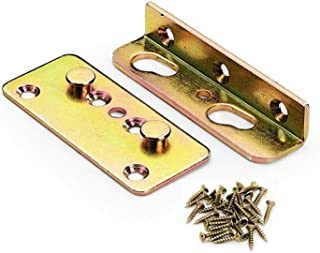Vonkpeter Heavy Duty No Mortise Bed Rail Fittings, Rust Proof Frame Bracket for Connecting to Wood, Headboards and Foot-Boards, Universal FIT - 4 Sets with Screws