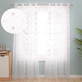 Deconovo Cortinas Visillos para Ventana Cortina Transparente con Ojales para Dormitorio y Salón 2 Piezas 140 x 245 cm Lino