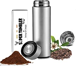 ALL IN ONE Tumbler and Travel Mug   Tea Infuser Portable Water Bottle   Fruit Infused Flask   Hot & Cold Double Wall Coffee Thermos   Stainless Steel 16.9 oz Silver