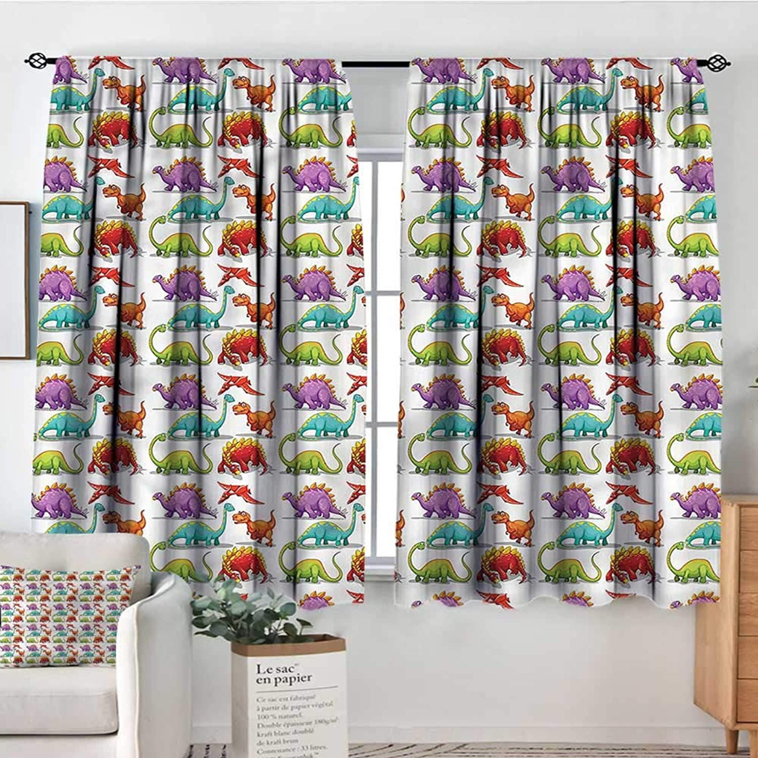Jurassic,Boy's Iving Room Curtain colorful Cartoon Herbivore 52 x63  Indo Treatments for Short Indo