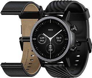 MOTO - Motorola Moto 360 Smartwatch – 3ª generación – Caja de acero inoxidable con bandas de 20 mm, batería para todo el día, WearOS de GoogleTM – Color negro