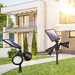 2 PCS Solar Spot Lights, Outdoor 36 LED Landscape Lamps Double Head 1000 Lumens Bright Spotlight Waterproof Flood Lamp with Motion Sensor for Deck Yard Garden Garage Driveway (Yellow - 2 Pack)
