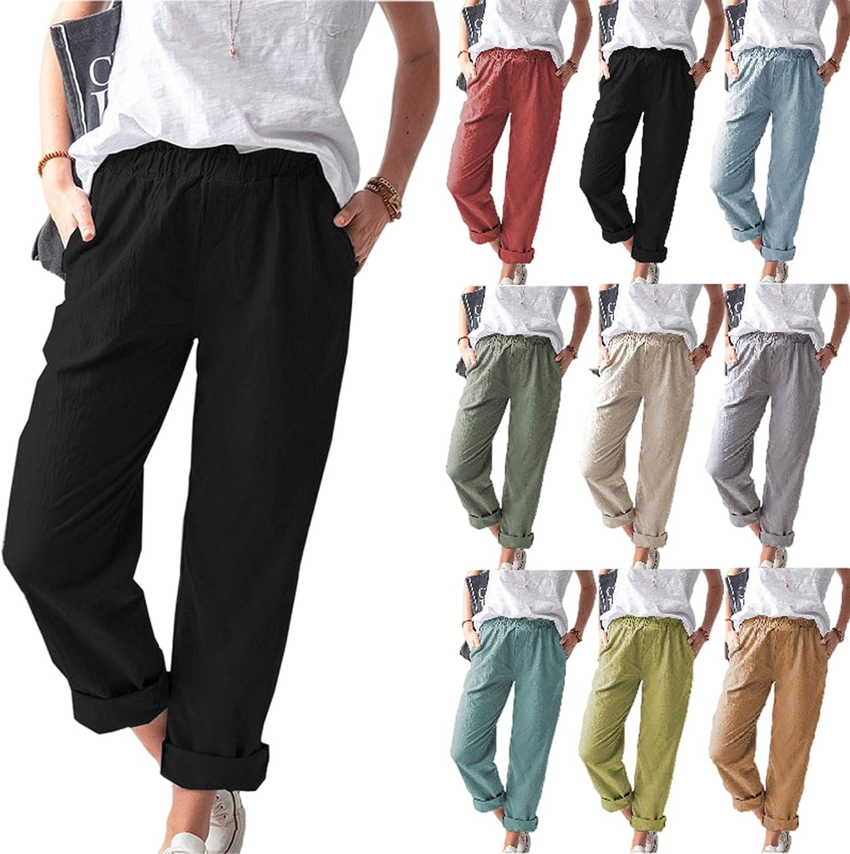 MIVAMIYA Women's Comfy Cotton and Wa Palazzo Max 86% OFF Elastic Pants Linen Regular store