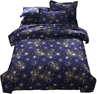 YOUSA Moon and Stars Print Bedding Set Space Kids Boys Bed Cover with Matching Pillow Shams (Twin,04)