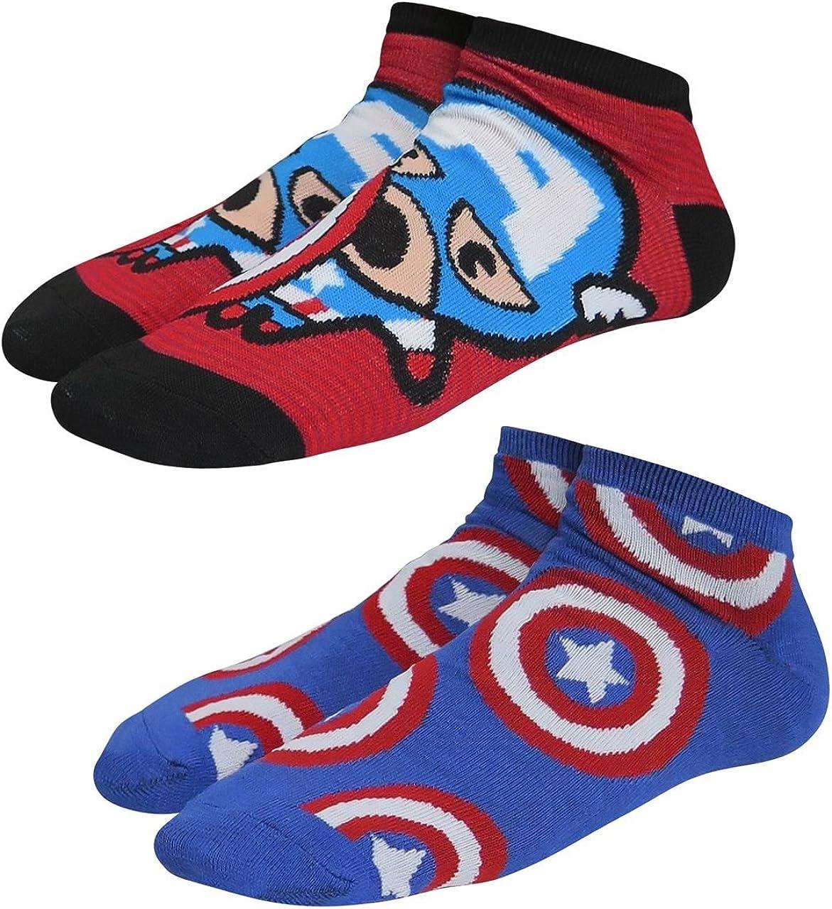 Captain America Ranking TOP11 Logo Max 69% OFF Kawaii Women's Socks Low-Cut 2-Pack