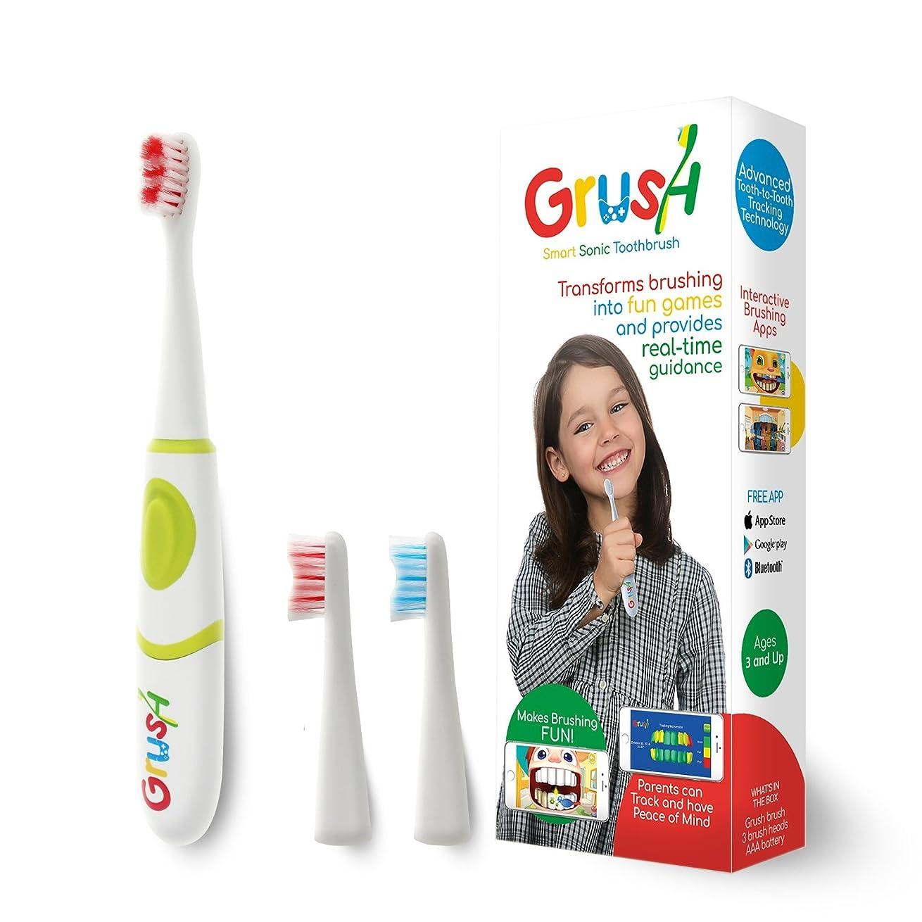 発疹クランプスーダン歯磨きでモンスターが倒せる!?スマホゲームと連動した電動歯ブラシ「Grush」子供用歯ブラシ 音波振動歯ブラシ