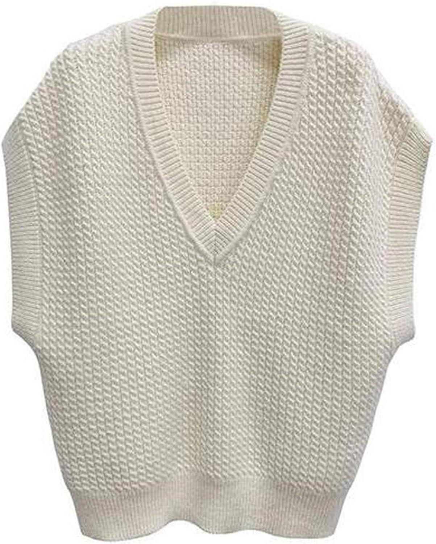 One opening Women 's PreppyStyleKnitwearTankTop V Neck Sleeveless Sweater Vest Causal Loose Fit Tank Top
