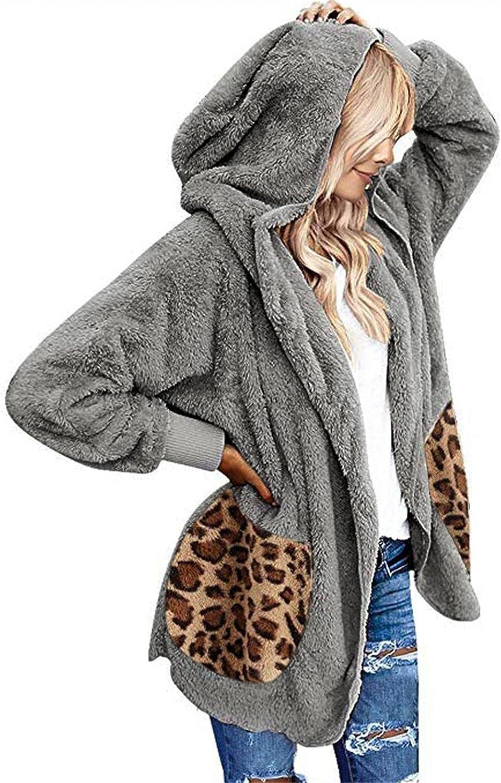 Women's Fuzzy Fleece Open Front Hooded Cardigans Jacket Coats Long Sleeve Solid Double-Sided Fleece Outwear With Pocket